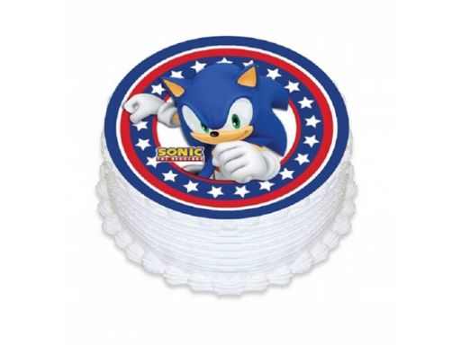 Bardzo gruby opłatek na tort sonic 20 cm duży