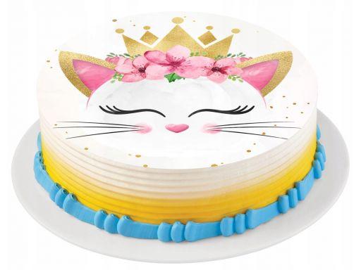 Bardzo gruby opłatek na tort kot kotek korona 20cm