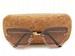 Okulary przeciwsłoneczne kocie oczy damskie brąz