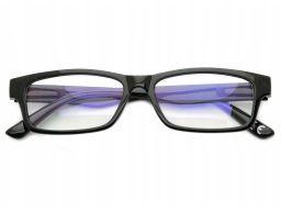Okulary antyrefleks zerówki nerdy prostokątne