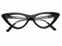 Okulary szkła zerówki czarne kocie oko cat eyes