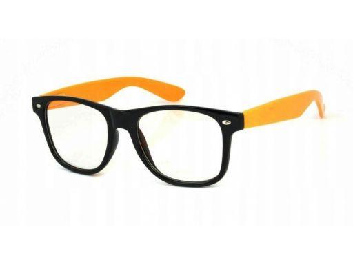 Okulary nerdy zerówki pomarańczowe kujonki + etui