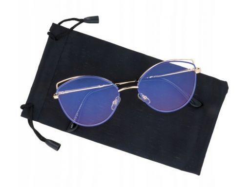 Okulary zerówki damskie kocie oczy z antyrefleksem