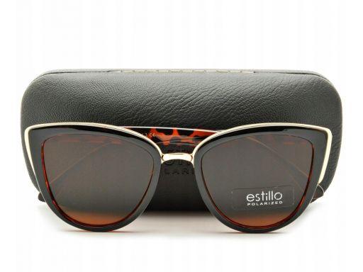 Brązowe damskie okulary polaryzacyjne kocie oczy