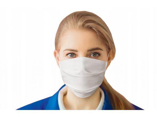 Maska bawełniana na twarz, warstwowa z gumką biała