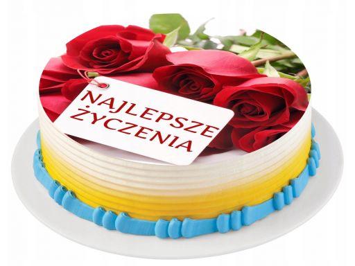 Bardzo gruby opłatek na tort kwiaty urodziny napis